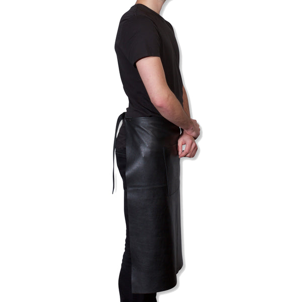 "Dutchdeluxes Waist Long Classic Black Leather ""Professional Apron"""