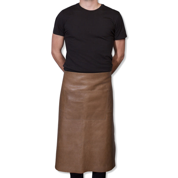 "Dutchdeluxes Waist Long Taupe Leather ""Professional Apron"""