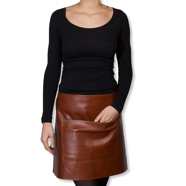 "Dutchdeluxes Waist Short Classic Brown Leather ""Professional Apron"""