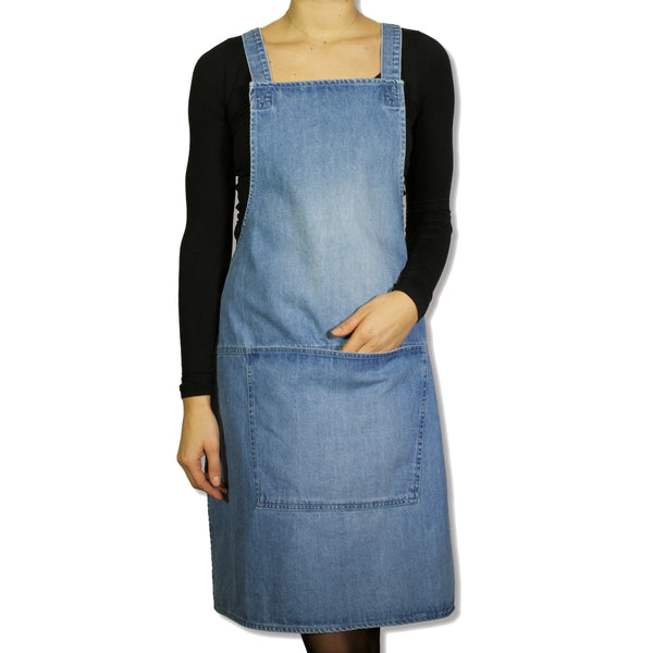 Dutchdeluxes Blue Denim Suspender Apron