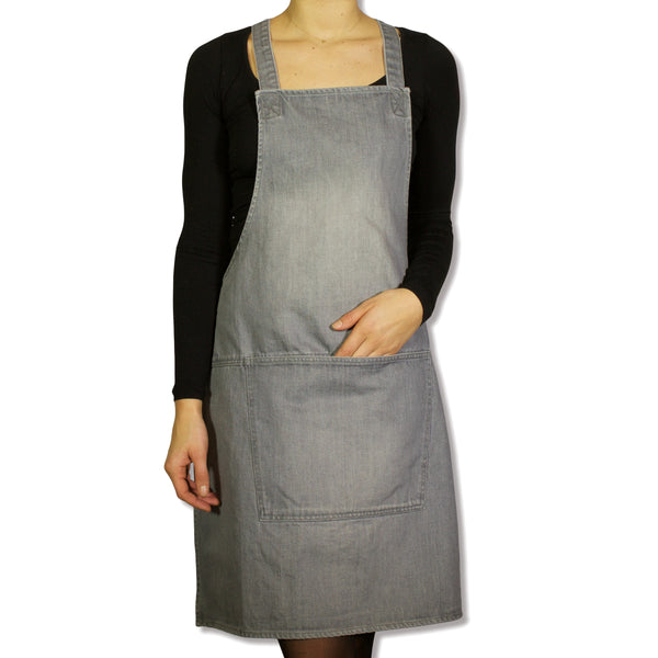 Dutchdeluxes Grey Denim Suspender Apron