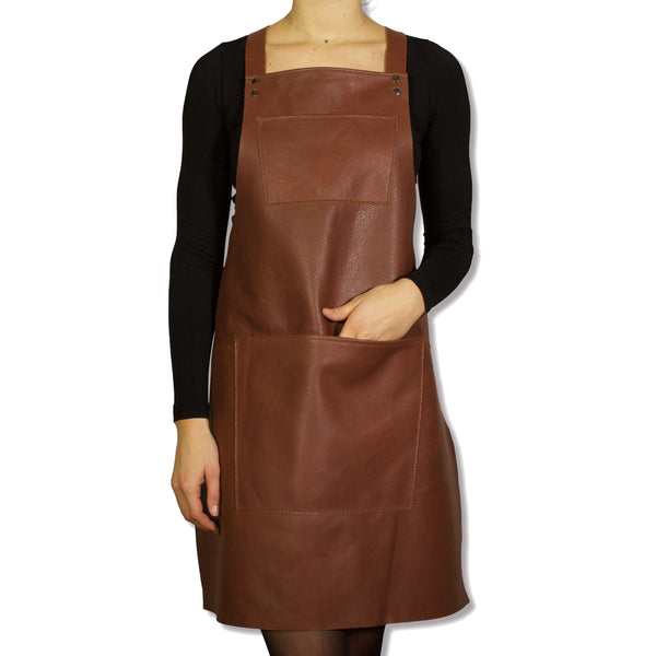Dutchdeluxes Classic Brown Leather Apron with Red Suspenders
