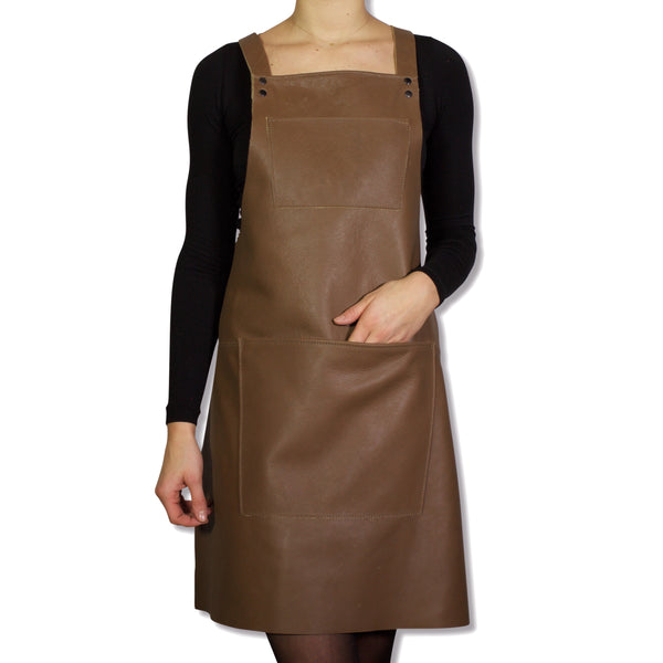 Dutchdeluxes Suspender Apron Taupe Leather