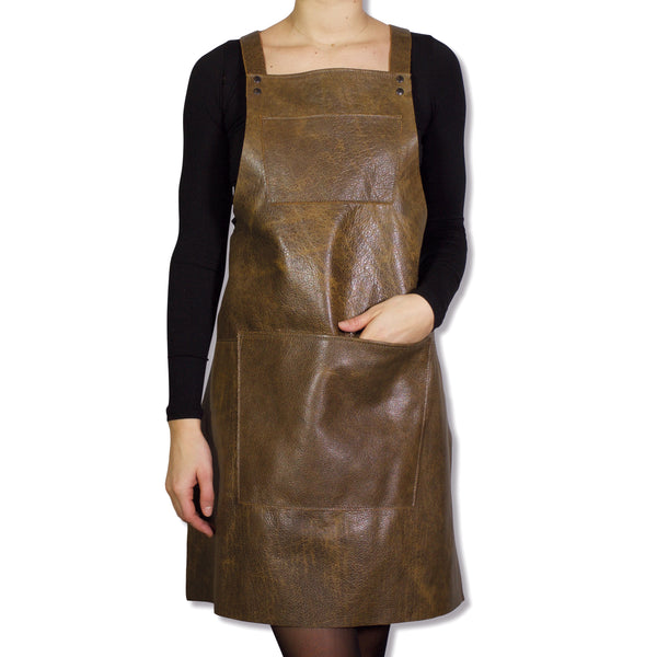 Dutchdeluxes Suspender Apron Vintage Brown Leather