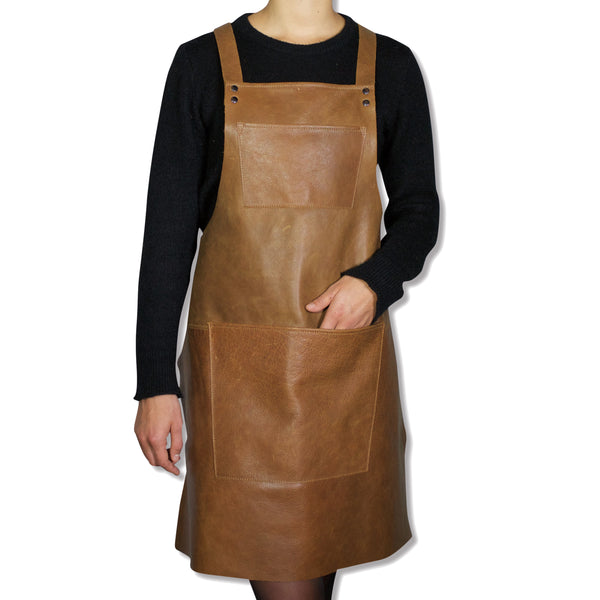 Dutchdeluxes Suspender Apron Vintage Camel Leather