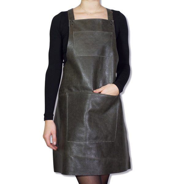Dutchdeluxes Suspender Apron Vintage Grey Leather