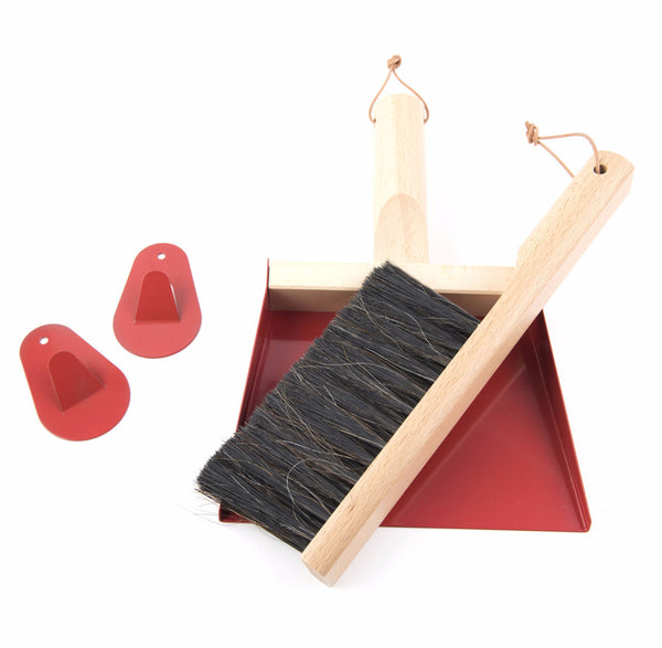 "Andrée Jardin Mr. and Mrs. Clynk Red Dustpan & Brush ""Coffret"" Gift Set"