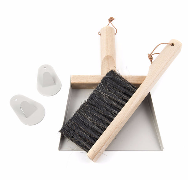 "Andrée Jardin Mr. and Mrs. Clynk Grey Dustpan & Brush ""Coffret"" Gift Set"