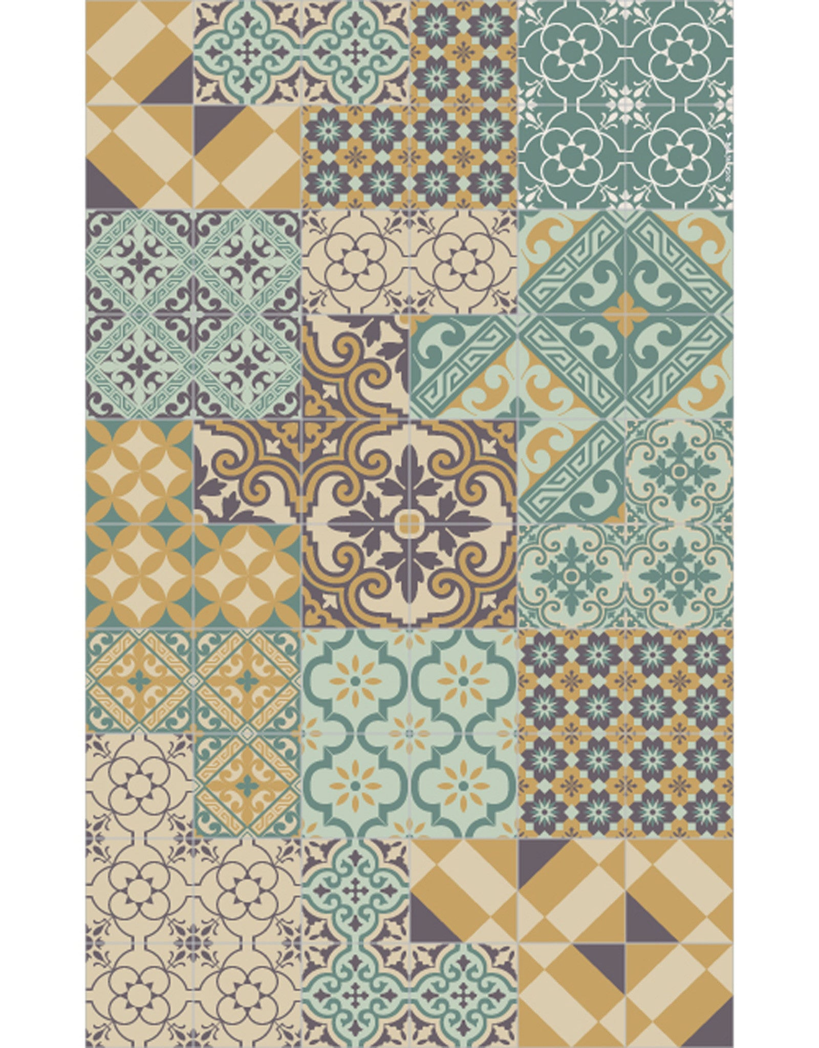 "Beija Flor Mint Eclectic Extra Large Table Mat (53"" x 90"")"
