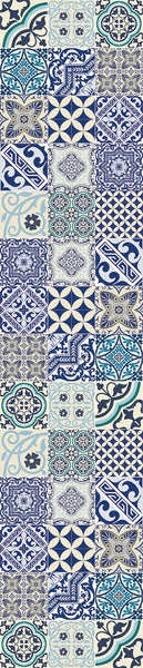 "Beija Flor Blue Eclectic Extra-Long Table Runner (13"" x 60"")"