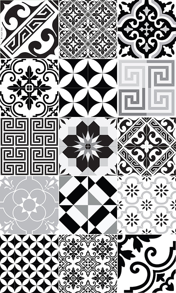 "Beija Flor Black and White Eclectic Medium Floor Mat (24"" x 38"")"