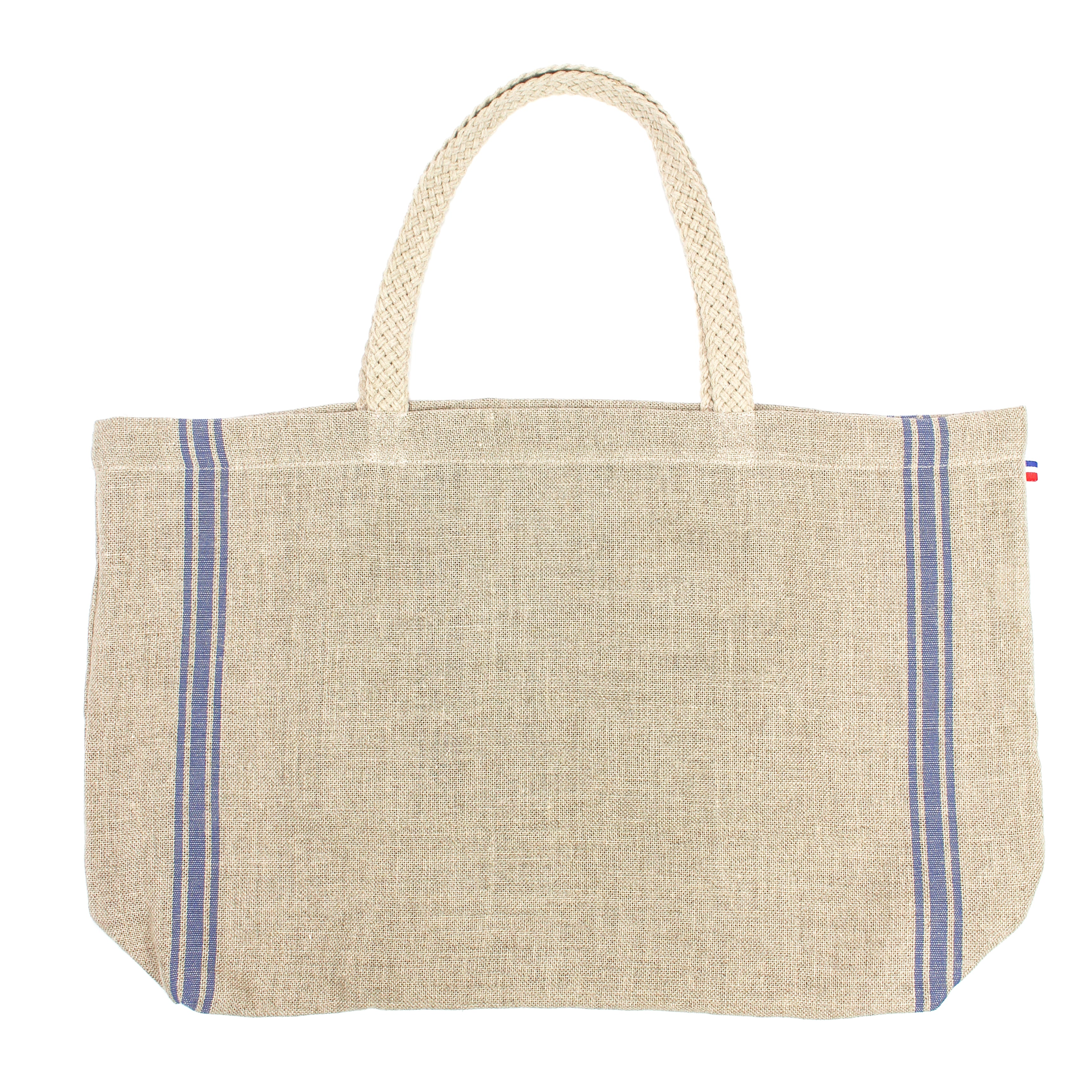 Monogramme Blue Thieffry Linen Shopping Bag with Braided Handle and Inner Zipper Pocket