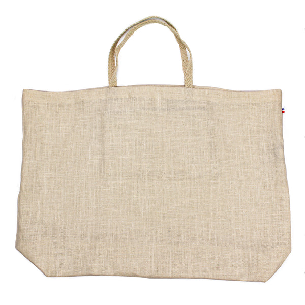 Bagatelle Natural Linen Thieffry Shopping Bag with Braided Handle and Inner Zipper Pocket