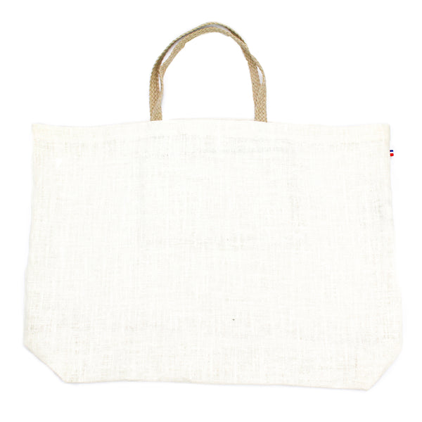 Bagatelle Cream Linen Thieffry Shopping Bag with Braided Handle and Inner Zipper Pocket