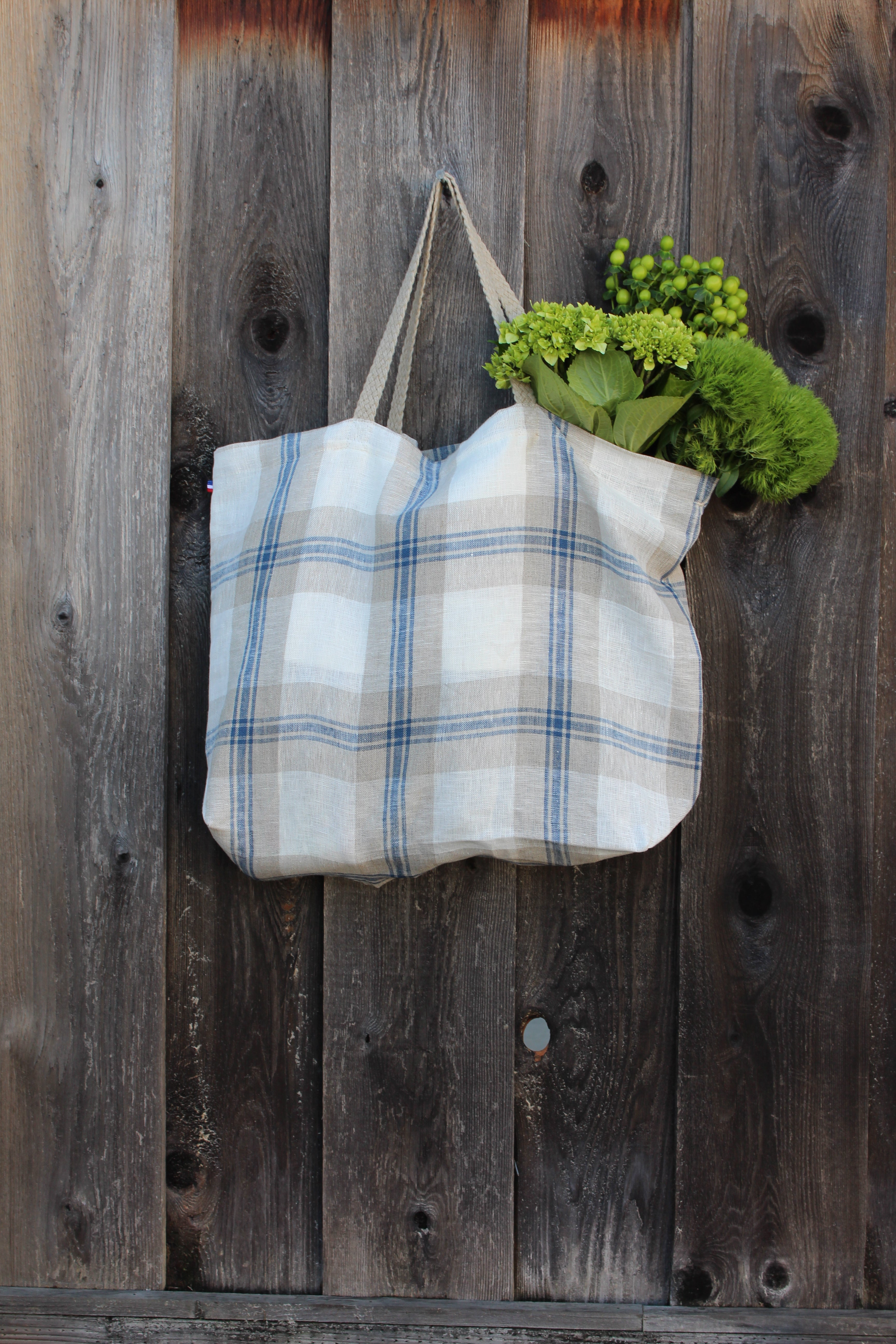 Cassandre Blue Plaid Thieffry Linen Shopping Bag with Braided Handle and Inner Zipper Pocket