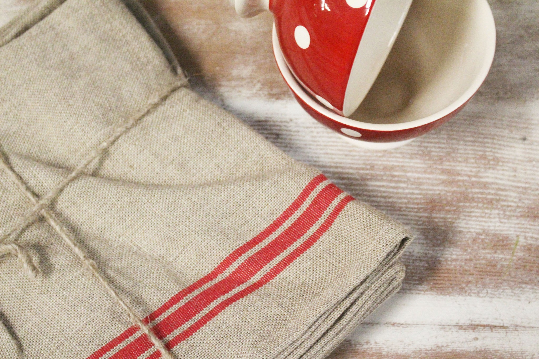 "Thieffry Red Monogramme Linen Tablecloth (68"" x 110"")"