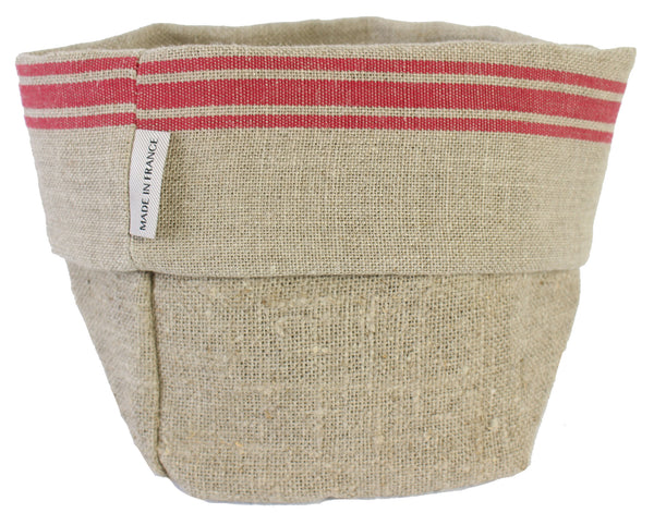 Thieffry Red Monogramme Linen Bread Bag