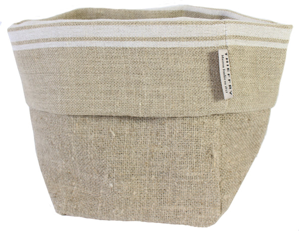 Thieffry White Monogramme Linen Bread Bag