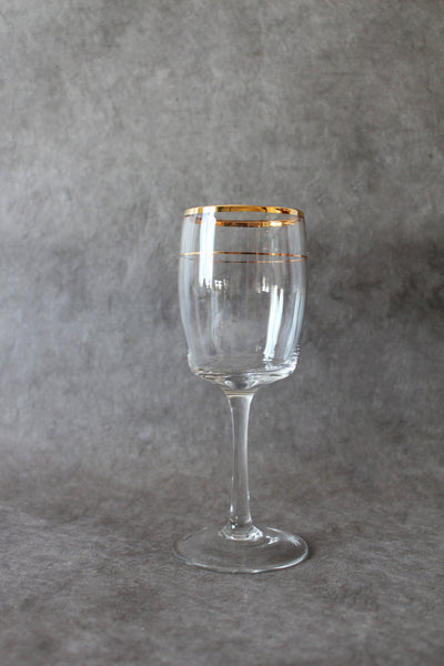 Antan Gold Barrel Large Footed Glass