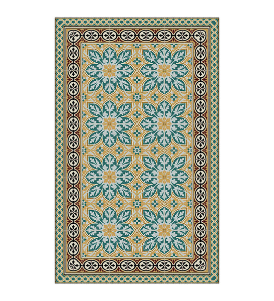 Beija Flor Blue & Gold India Floor Mat