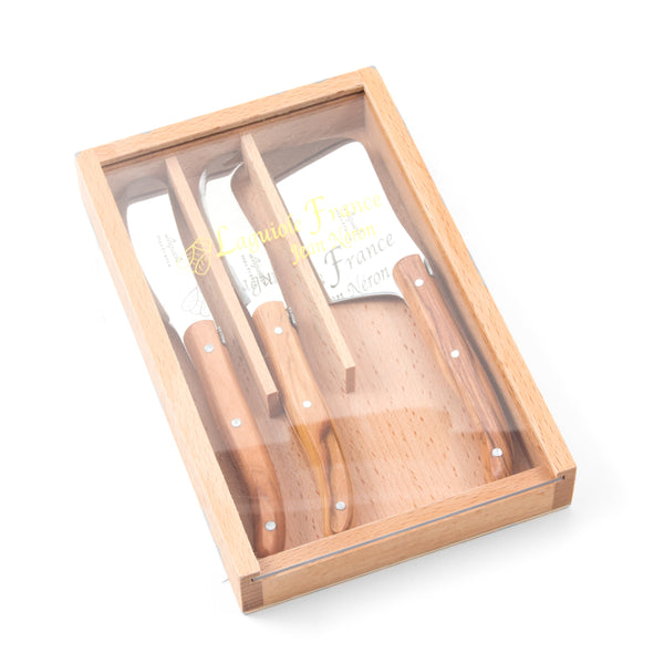 Laguiole Mini Olivewood Cheese Set in Wooden Box with Acrylic Lid (Set of 3)