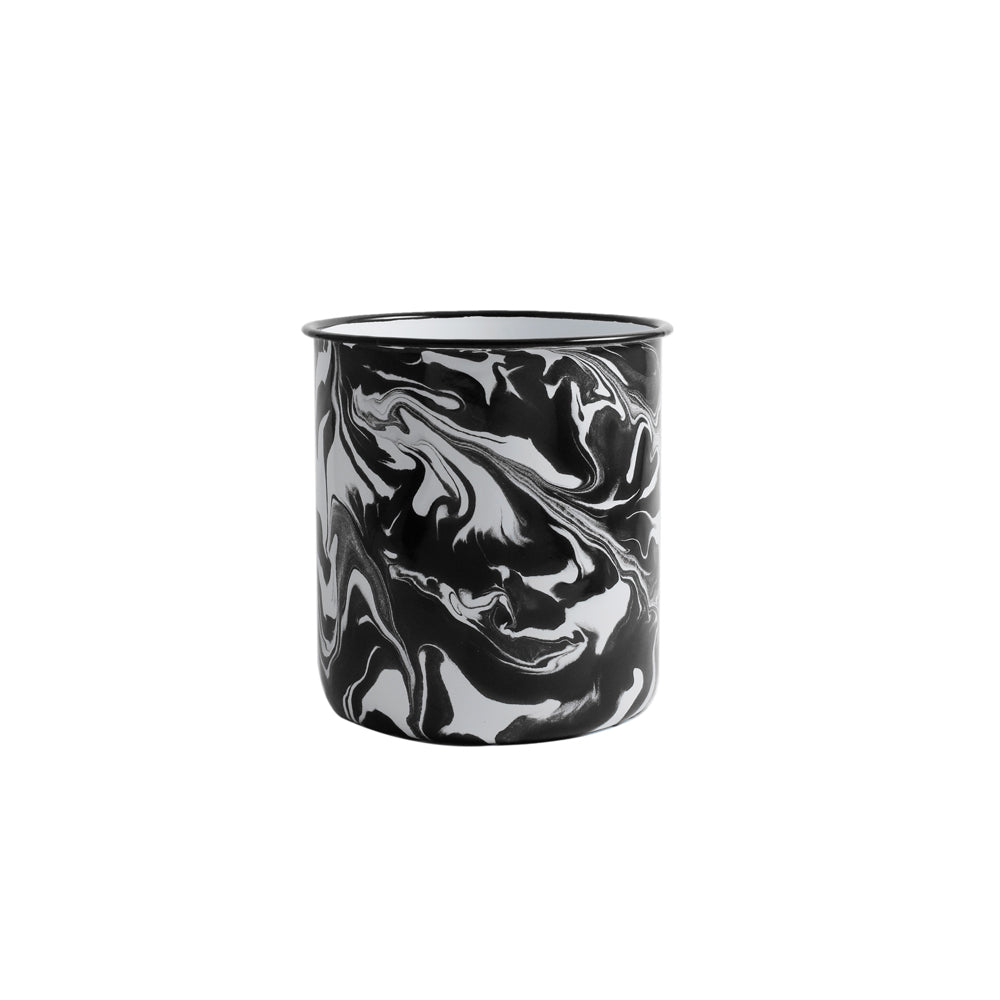 Orban & Sons Black & White Swirl Enamel Cutlery Crock