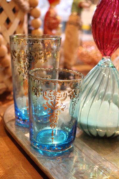 Moroccan Azure Large Glass with Gold Decal