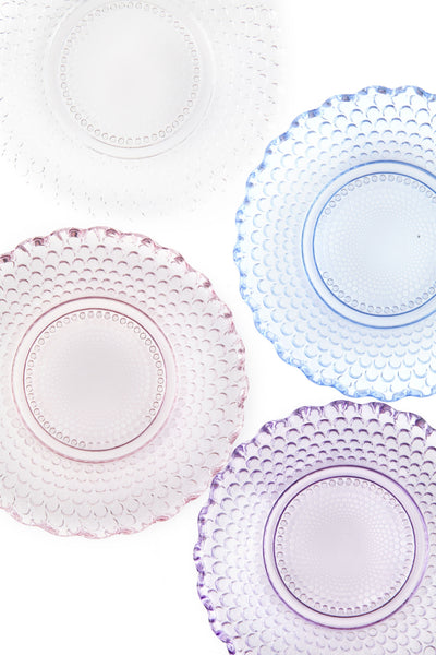 Dentelle Petit Point Glass Plate in Aquamarine