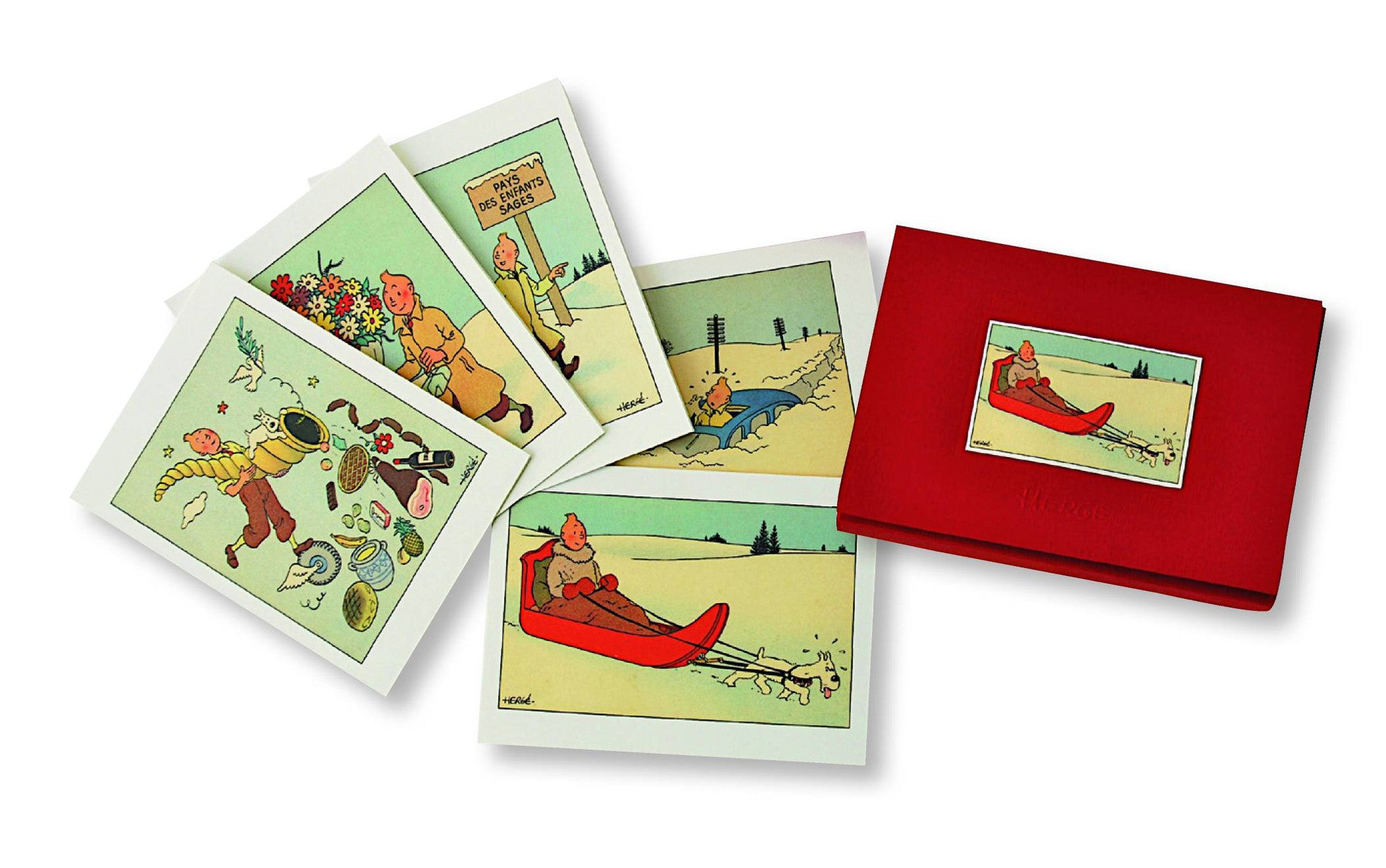Tintin Box of 10 Christmas Cards