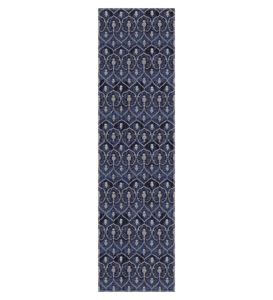 "Beija Flor Brown Royal Indigo Pineapple Table Runner (13"" x 47"")"