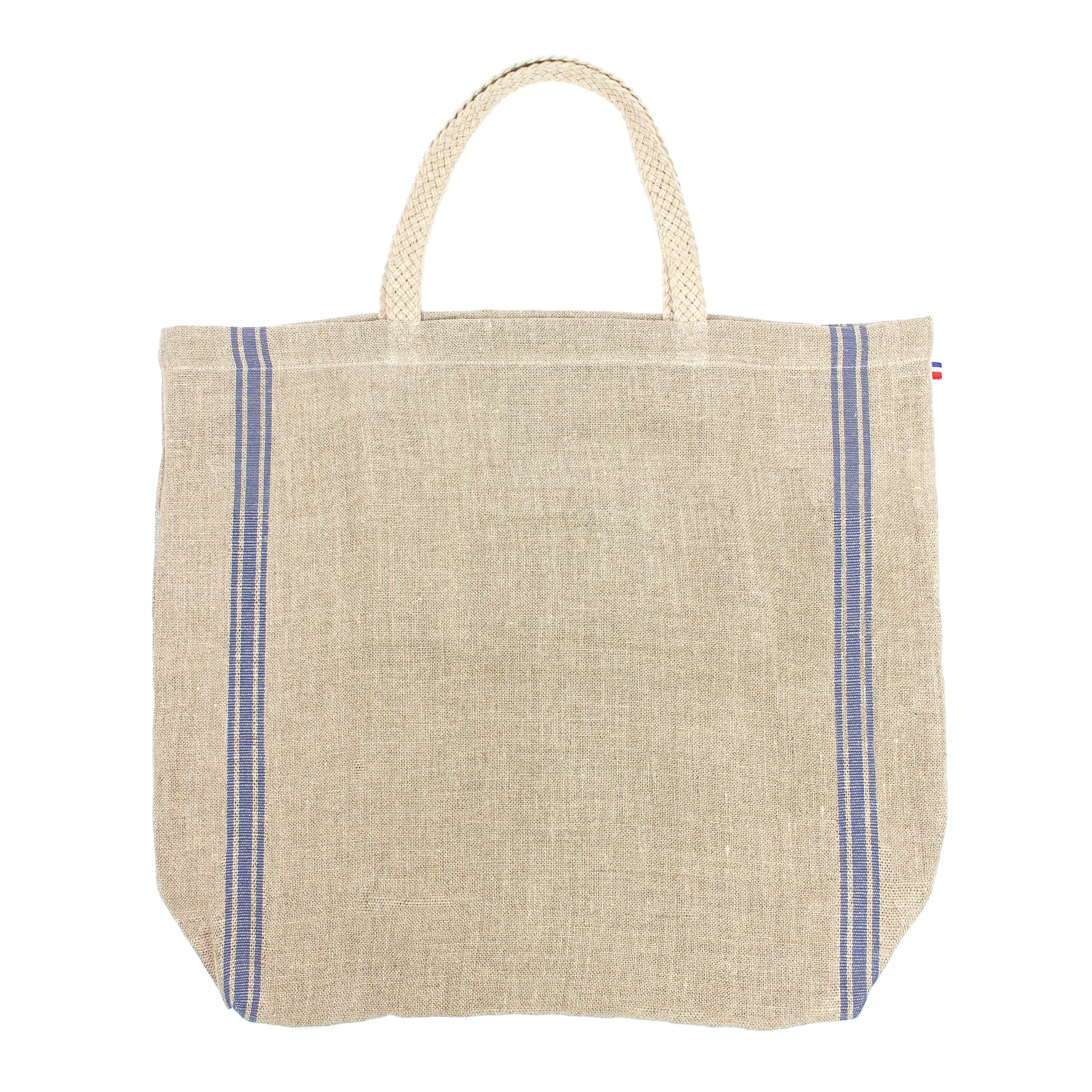 Monogramme Blue Thieffry Linen Beach Tote with Braided Handle and Inner Zipper Pocket