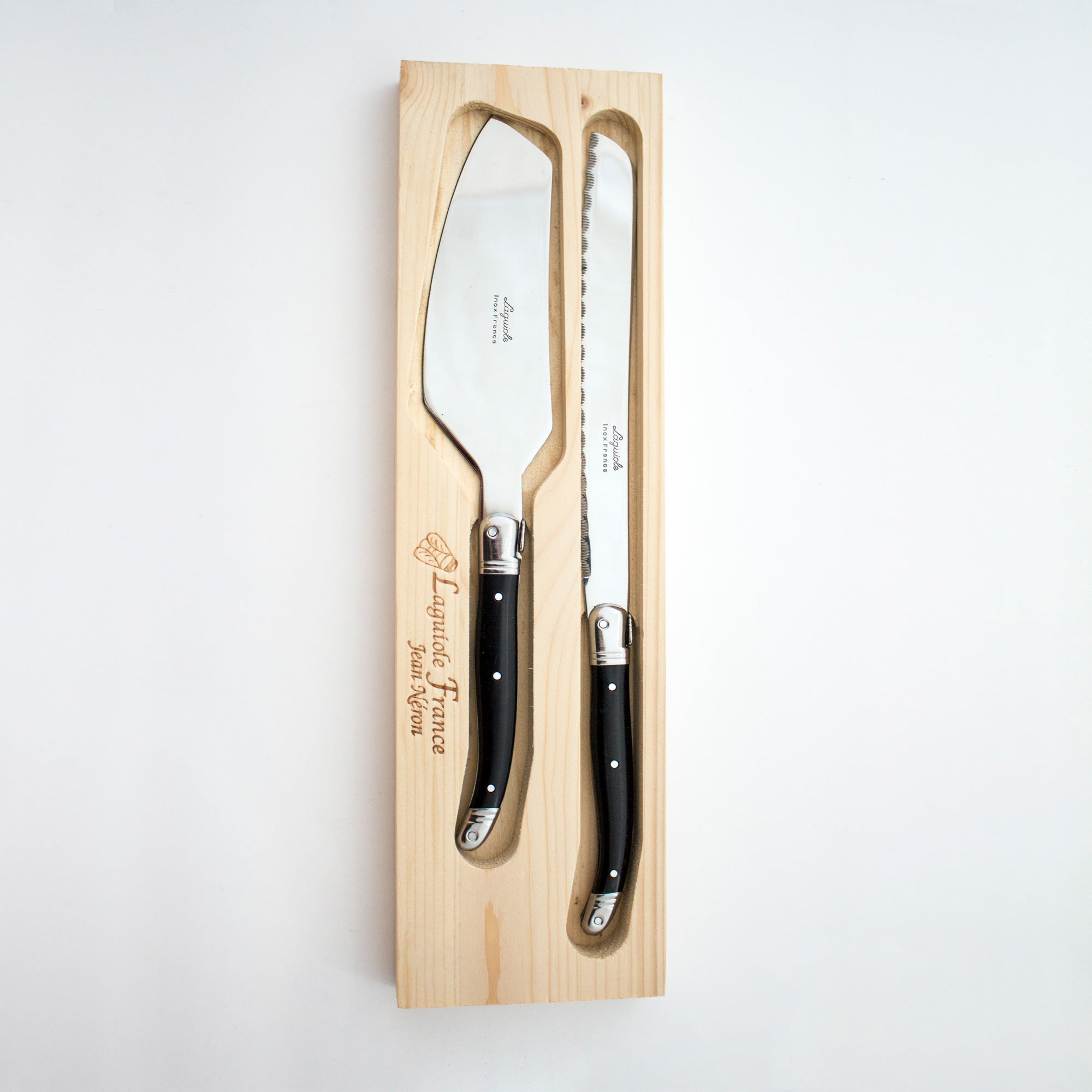 Laguiole Black Cake Set in Wood Box (Cake Slicer and Bread Knife)
