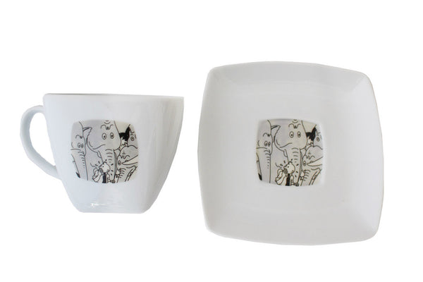 Square Elephant Teacup & Saucer