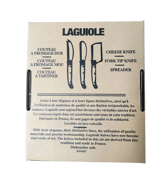 Laguiole Black Marble Mini Cheese Set in Brown Box (Cutter, Spreader, Fork Tipped Knife)