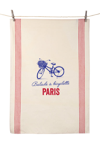"Tissage de L'Ouest Balade a Bicyclette Paris Dish Towel (21.6"" x 31.4"")"