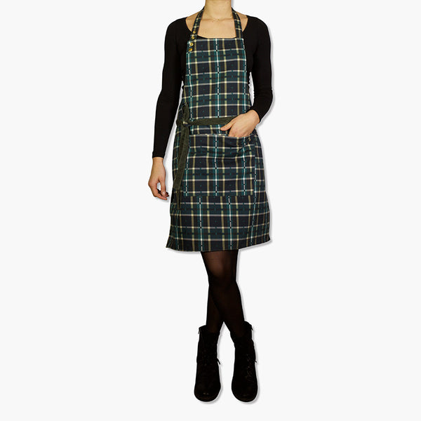Dutchdeluxes Reversible Corduroy Apron Khaki Green & Green Plaid