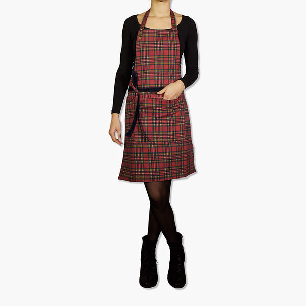 Dutchdeluxes Reversible Corduroy Apron Navy & Red Plaid