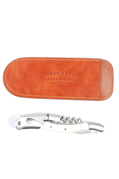 Orban & Sons Small Bone Corkscrew With Leather Pouch