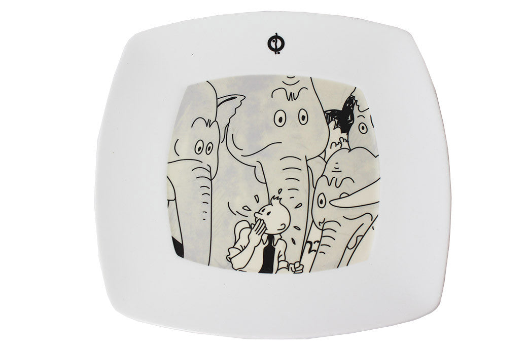 Square Plate Elephant (Small)