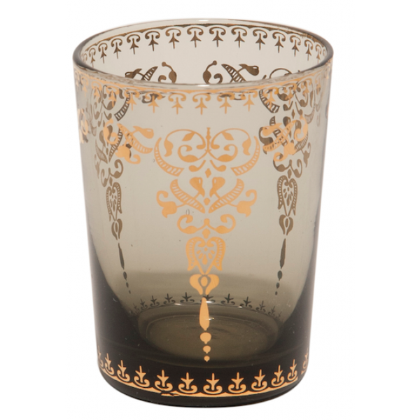 Moroccan Smoke Small Glass with Gold Decal