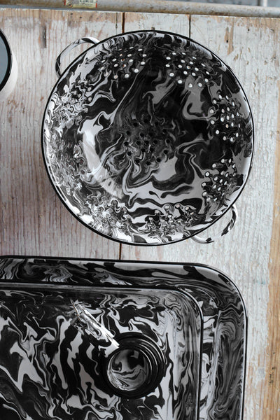 Orban & Sons Black & White Swirl Enamel Medium Tray
