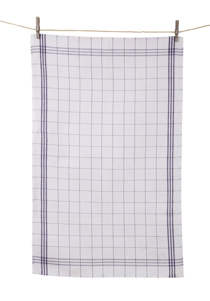 "Tissage de L'Ouest Set of 2 Traditional Window Pane Plaid Blue Dish Towels (21.6"" x 31.4"")"