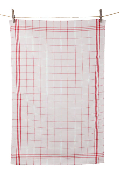 "Tissage de L'Ouest Set of 2 Traditional Window Pane Plaid Red Dish Towels (21.6"" x 31.4"")"