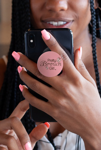 Pretty Brown Girl Phone Pop-Up Stand