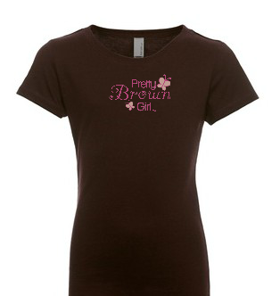 Chocolate Pretty Brown Girl Youth Sparkly Logo T-Shirt