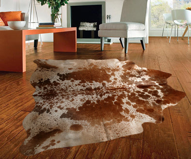 "New Cowhide Leather Area Rugs size 57"" by 55"" inches (21.8 sq. ft) Top Quality A"