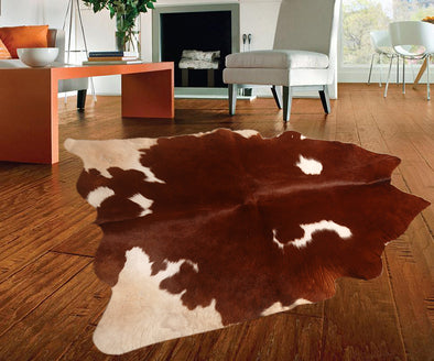 "New Cowhide Leather Area Rugs size 40"" by 37"" inches (10.28 sq. ft) Top Quality"