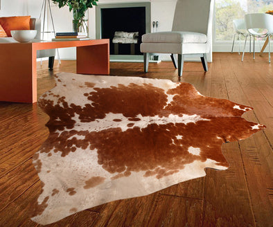 "New Cowhide Leather Area Rugs size 58"" by 56"" inches (22.56 sq. ft) Top Quality"
