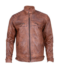 Men's Motorcycle Biker Vintage Distressed Brown Cafe Racer Leather Jacket