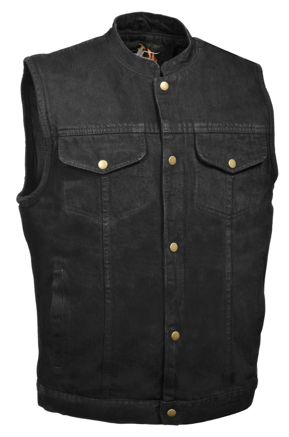 Men's Motorcycle Snap Front Denim Club Style Vest W/ Gun Pocket - Divine Leather USA - 1
